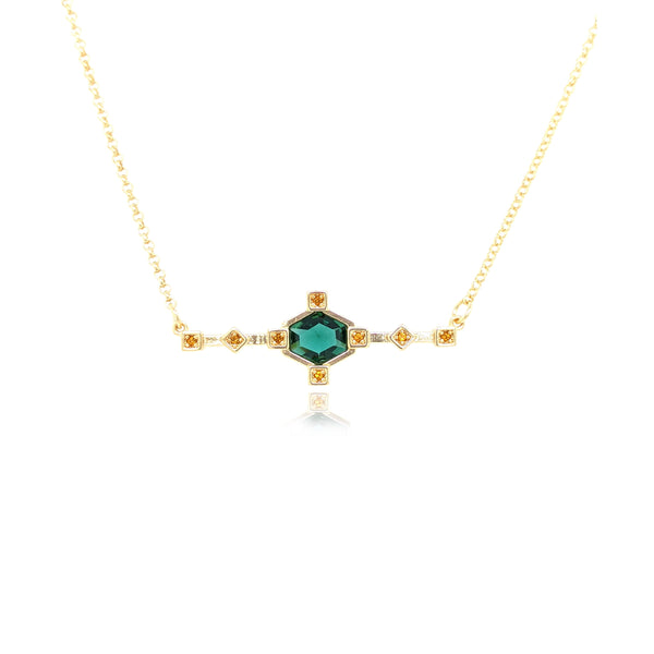Hexagonal Bar Necklace - Green