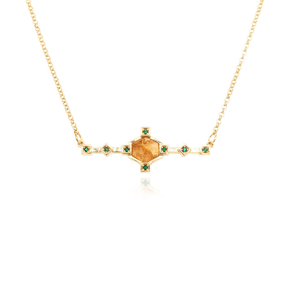 Hexagonal Bar Necklace - Citrine