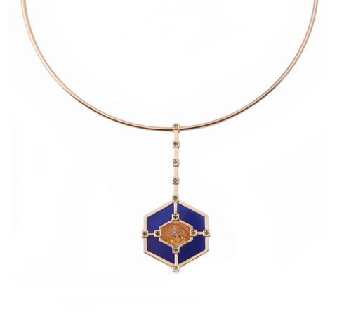 Hexagonal Statement Choker - Citrine Blue