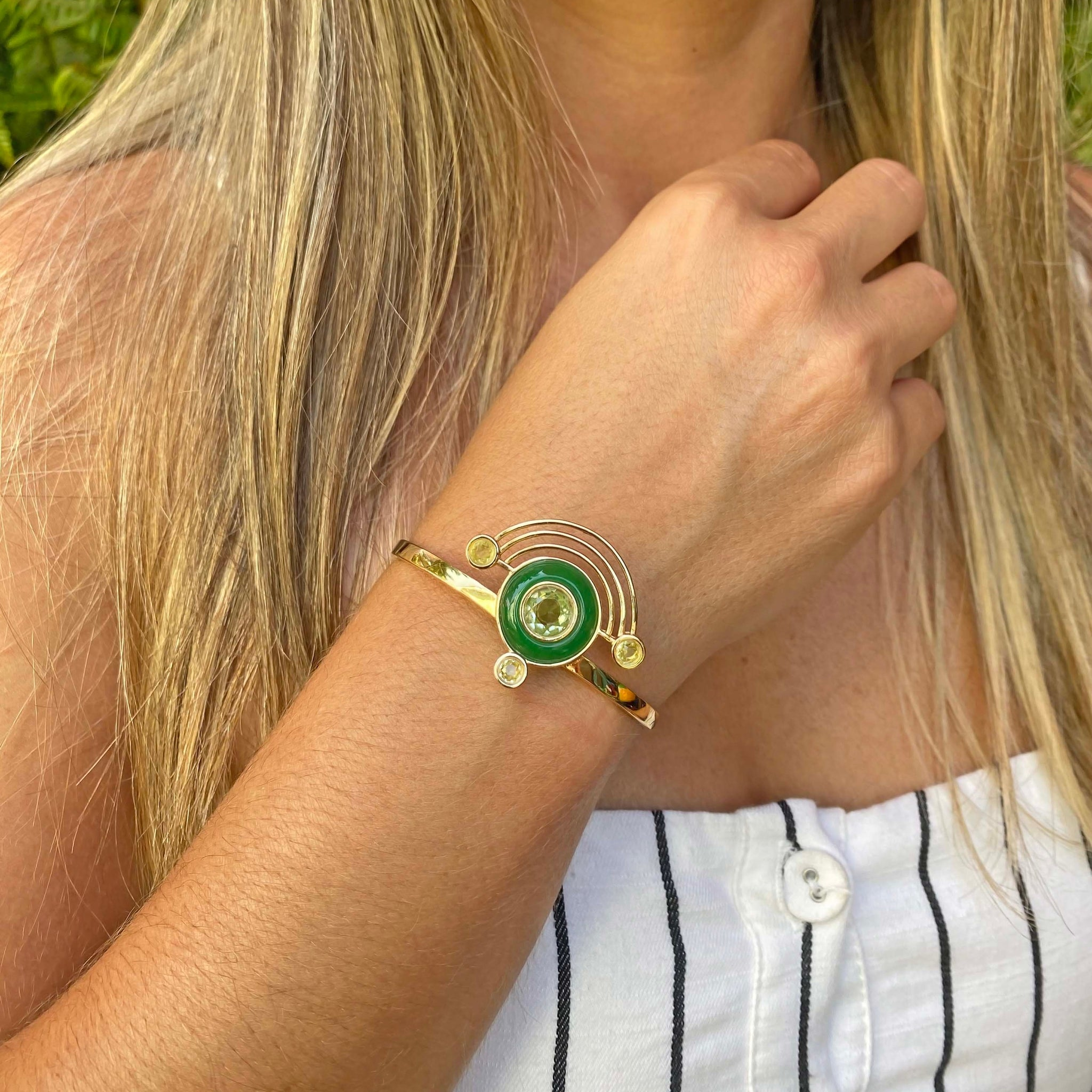 Yellow Gold filled gemstone statement cuff bracelet, From My Jewelry is by Taissa Maleck