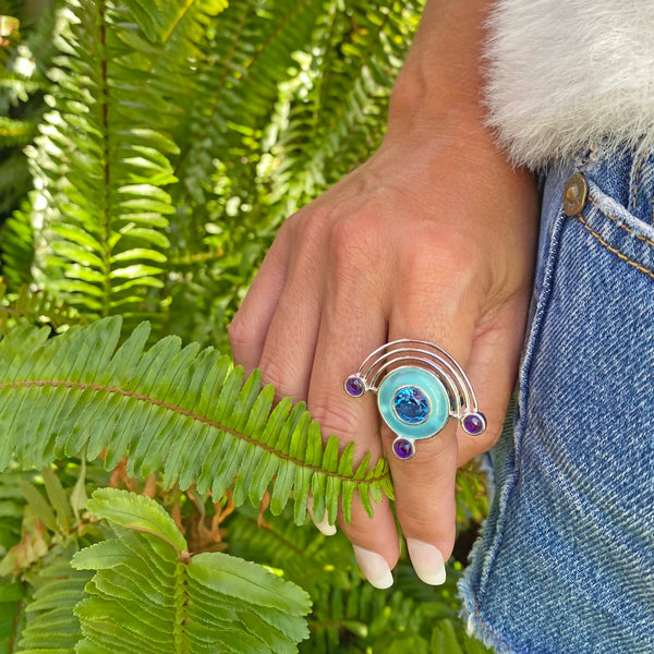 Sterling Silver gemstone statement gemstone ring,  From My Jewelry is by Taissa Maleck