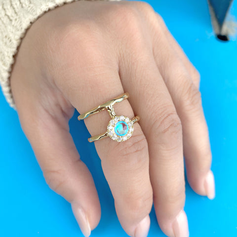 H Ring w/ Crystal