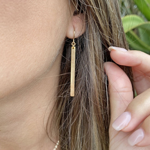 14Kt Gold Filled Long Bar Earrings