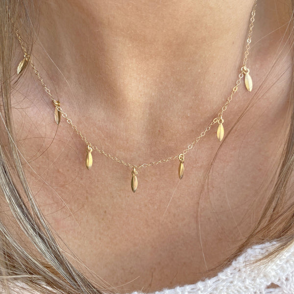 Yellow Gold filled Necklace with leaves charms