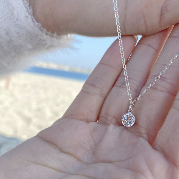 Large Solitaire Charm Necklace