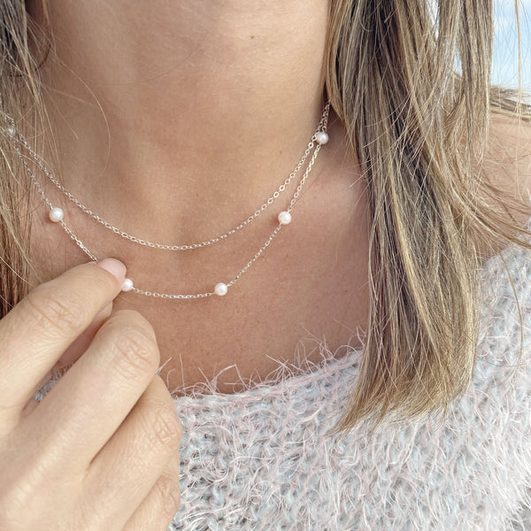 Double Sterling Silver Necklace with Freshwater Pearls