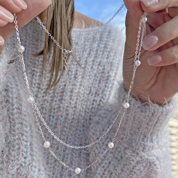 Silver Necklace with Freshwater Pearls