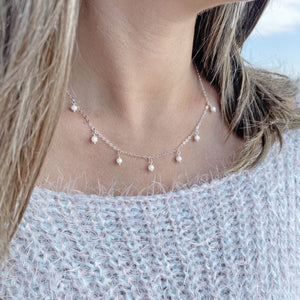925 Sterling Silver Necklace with Freshwater Pearls Charm | My Jewelry is by Taissa Maleck