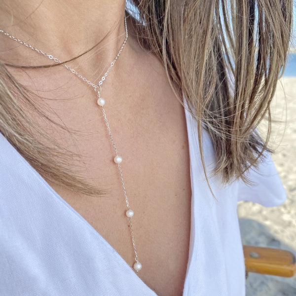 Y Style Necklace w/ Freshwater Pearls