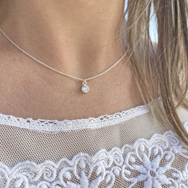 Bold Silver Solitaire Necklace