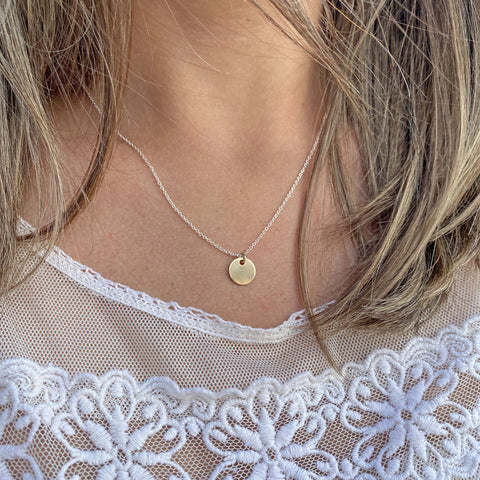 Round Gold Tag Charm Necklace