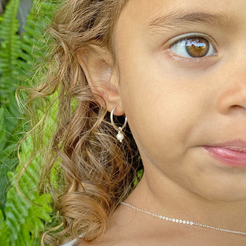Kids Hoop Earrings w/ Pearls