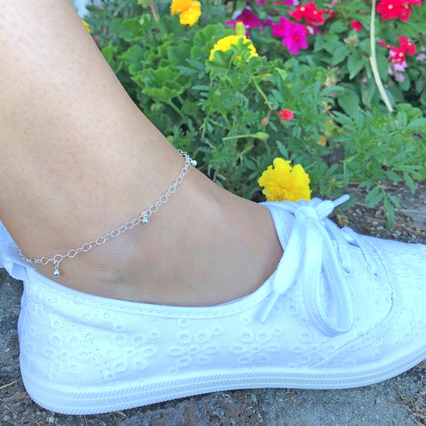 Mini Ball Charm Anklet | Silver