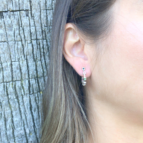 Cube Hoop Earrings - Silver