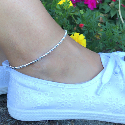 Sterling Silver Beaded Anklet, Ankle Bracelet