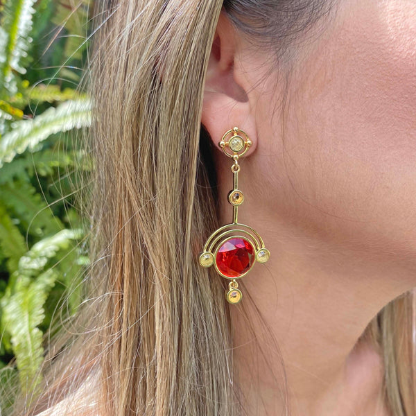 Yellow Gold filled gemstone statement gemstone earrings, From My Jewelry is by Taissa Maleck