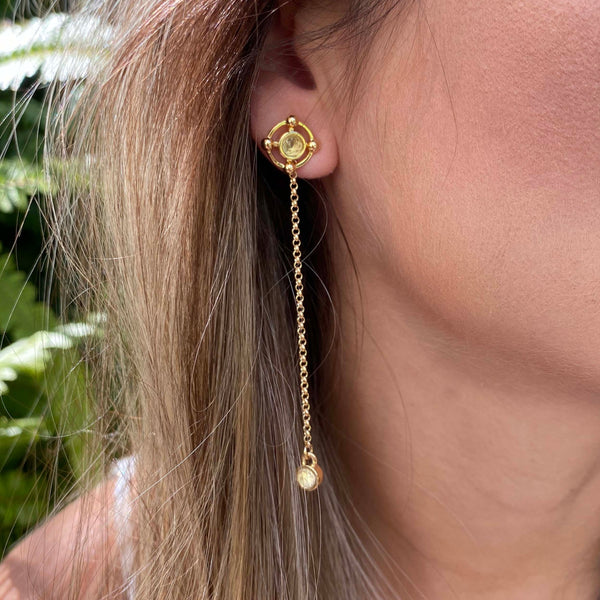 Reversible Chain Earrings - Citrine