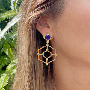 Yellow Gold filled gemstone statement earrings My Jewelry Is by Taissa Maleck