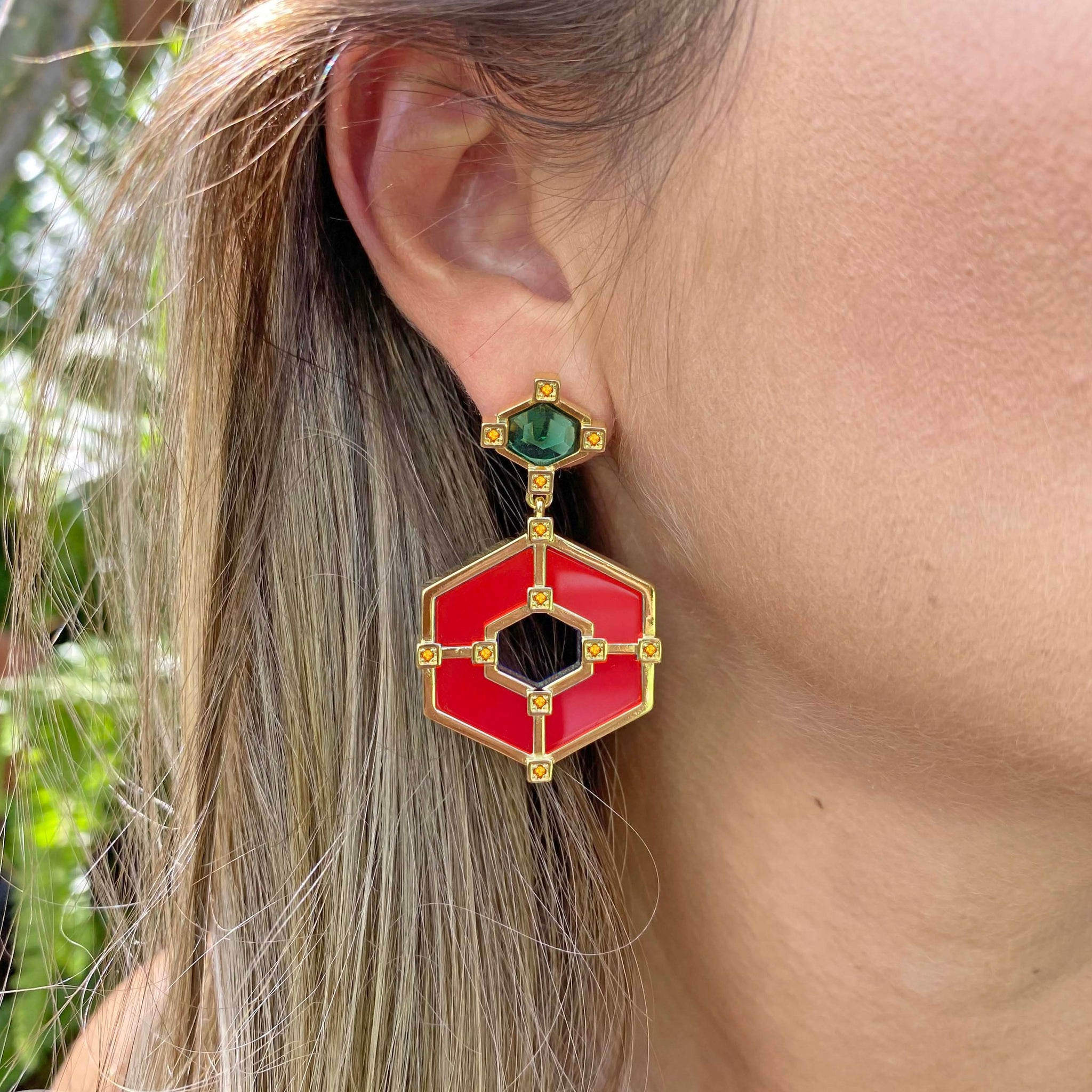 Yellow Gold filled gemstone statement earrings , From My Jewelry is by Taissa Maleck