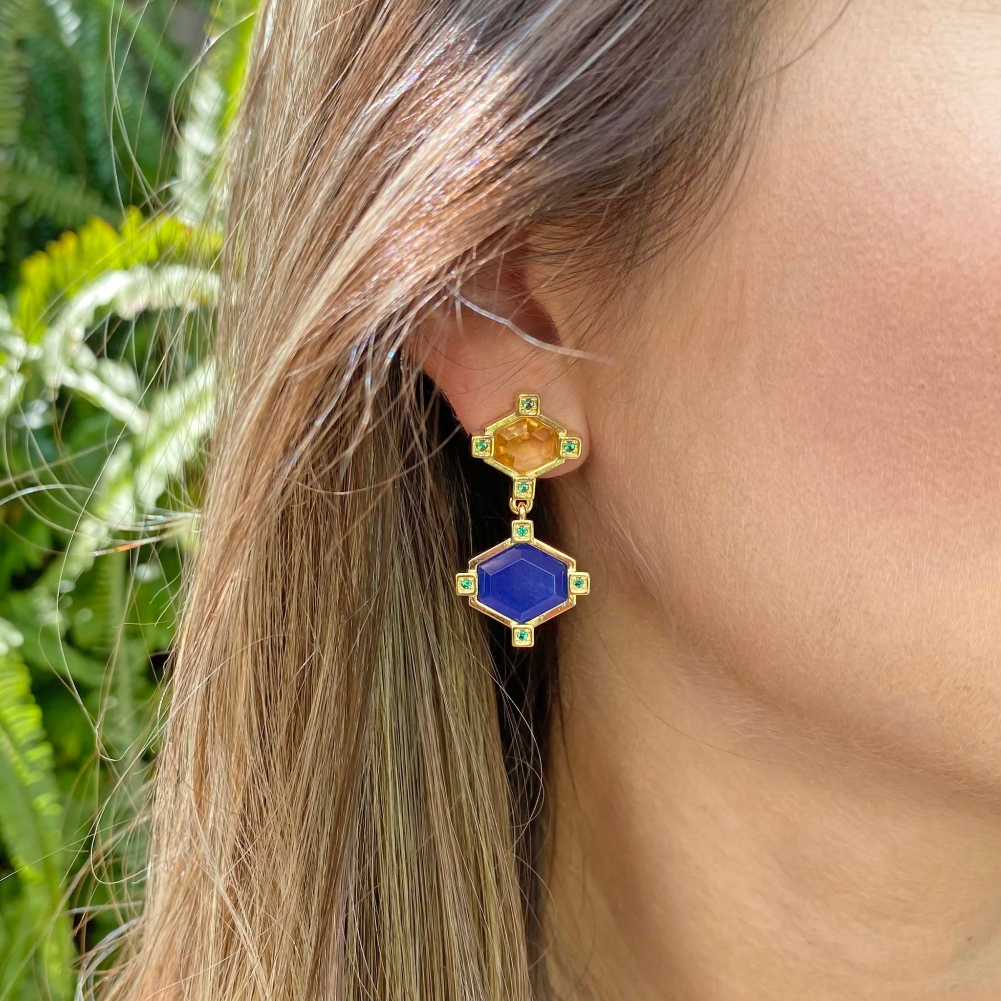 Yellow Gold filled gemstone earrings MyJewelry Is by Taissa Maleck