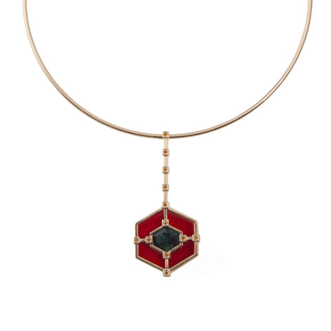 Hexagonal Statement Choker - Ruby Green