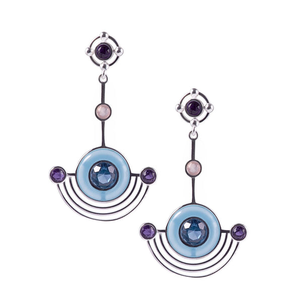 Orbit Statement Earrings - Silver Blue