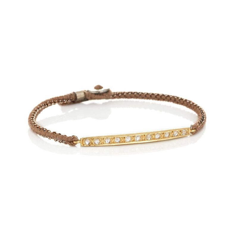 Hand made in Los Angeles Brooke Gregson 14k gold Diamond Bar Silk Bracelet