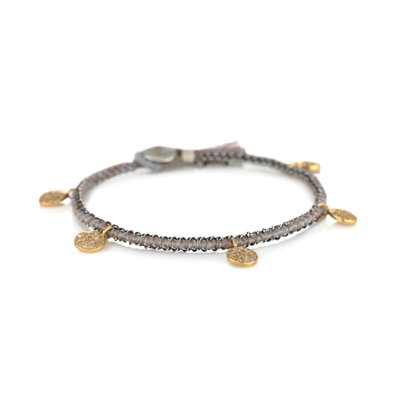 Hand made in Los Angeles Brooke Gregson 14k gold diamond coin Silk Bracelet