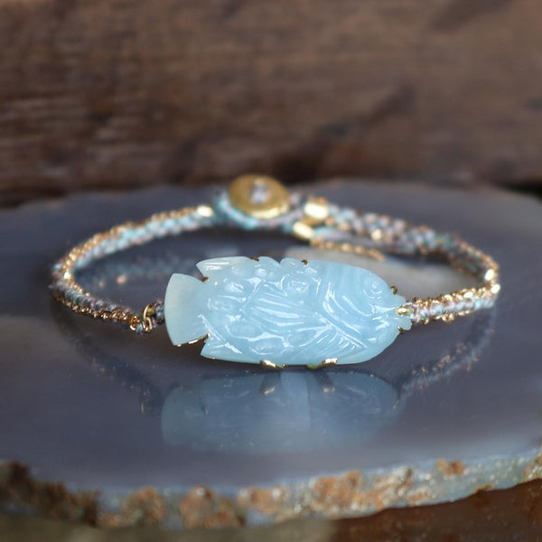 Aquamarine Fish Silk Gold Bracelet