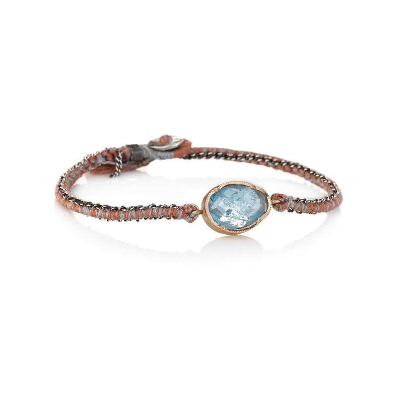 Hand made in Los Angeles Brooke Gregson 14k rose gold aquamarine silk woven chain bracelet