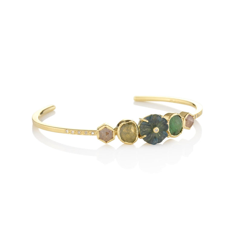 Hand made in London Brooke Gregson 18k gold Diamond Emerald and Carved Aquamarine Flower Cuff