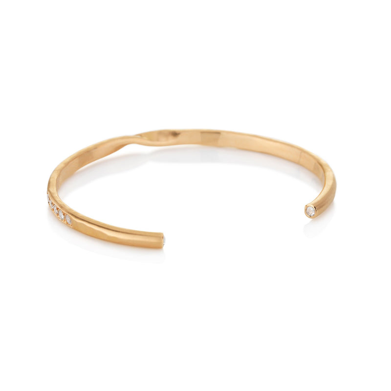 Hand made in London Brooke Gregson 18k rose gold Diamond Cuff Bracelet