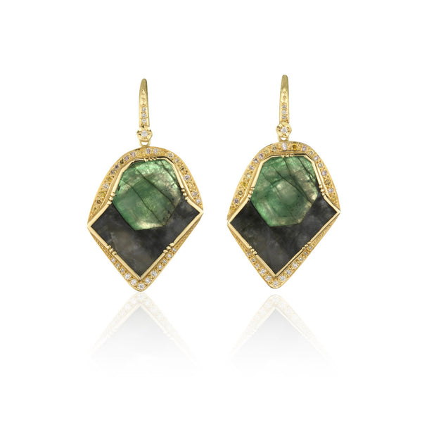 Hand made in London Brooke Gregson 18k gold raw Emerald Diamond Earrings