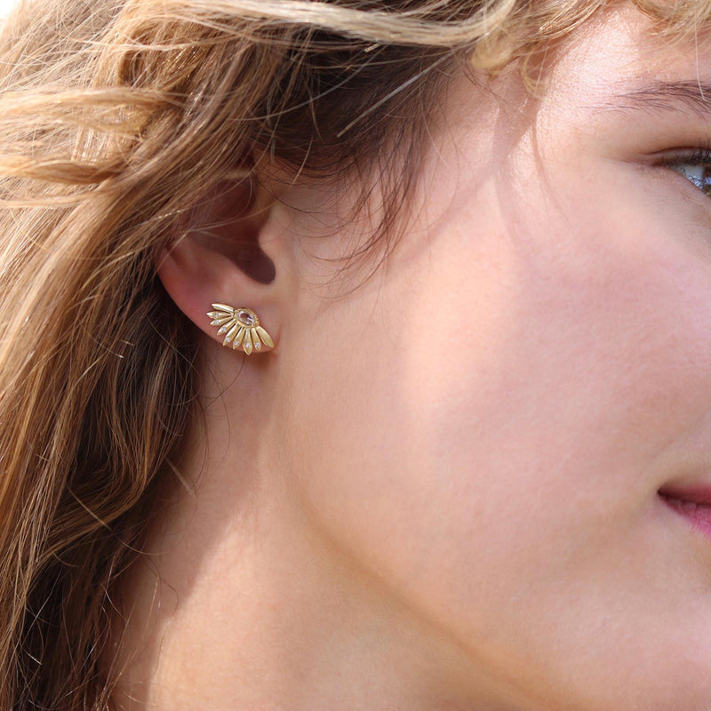 Model wearing Hand made in London Brooke Gregson 18k gold Daisy Diamond Earrings