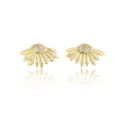 Hand made in London Brooke Gregson 18k gold Daisy Diamond Earrings