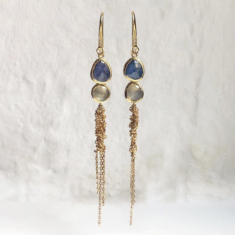 DOUBLE WATERFALL BLUE GREY SAPPHIRE EARRINGS