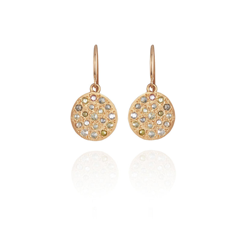 Hand made in Los Angeles Brooke Gregson 14k textured rose gold mixed color rose cut diamond earrings