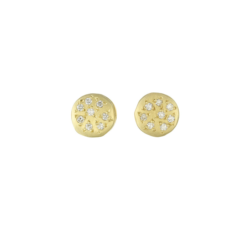 Hand made in Los Angeles Brooke Gregson 14k gold diamond earrings