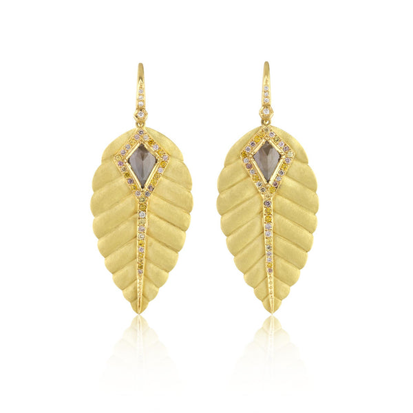 Hand made in London Brooke Gregson 18k gold Carved Leaf Diamond Earrings