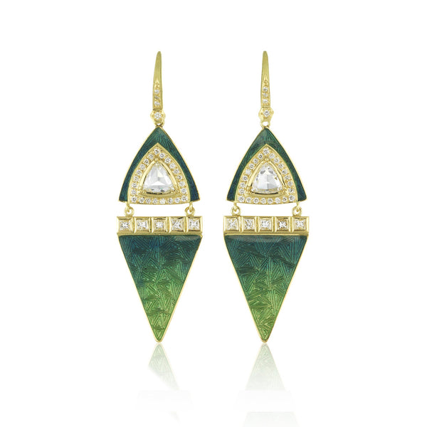 Hand made in London Brooke Gregson 18k gold diamond Enamel Earrings