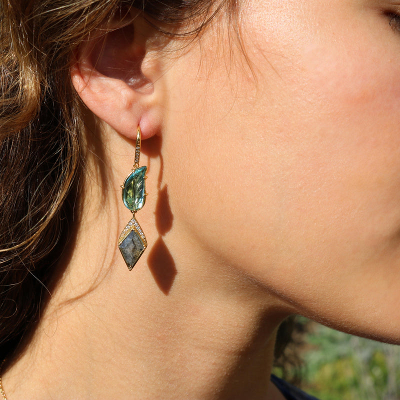 Model wearing Hand made in London Brooke Gregson 18k Gold Carved Aquamarine Leaf Diamond Earrings