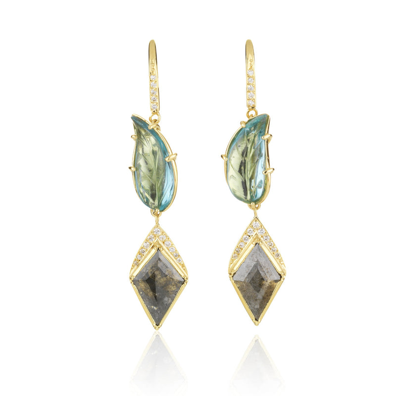 Hand made in London Brooke Gregson 18k Gold Carved Aquamarine Leaf Diamond Earrings