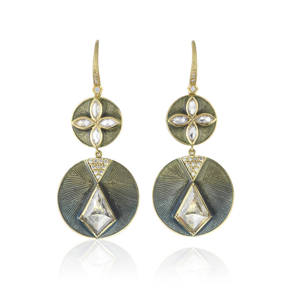 TALISMAN SHIELD ENAMEL DIAMOND EARRINGS