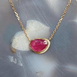 Brooke Gregson 18k gold ruby necklace with diamond detail hand made in London