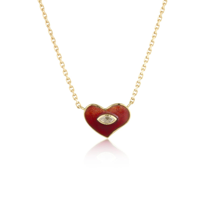 Hand made in London Brooke Gregson 18k gold enamel red heart diamond necklace