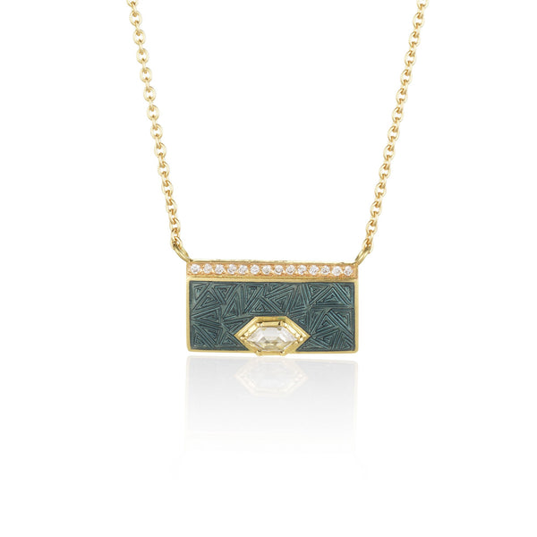 Hand made in London Brooke Gregson 18k gold enamel diamond Necklace