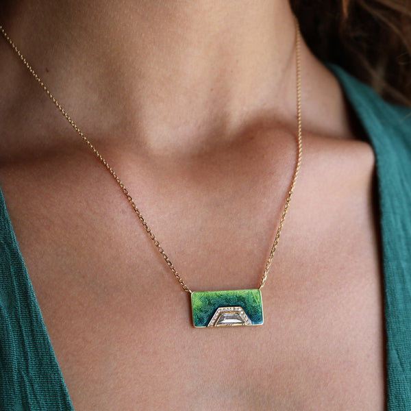 Model wearing Hand made in London Brooke Gregson 18k gold enamel diamond Necklace