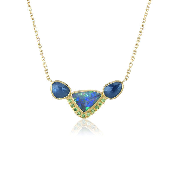 Hand made in London Brooke Gregson 18k gold Boulder Opal Sapphire Tsavorite Necklace
