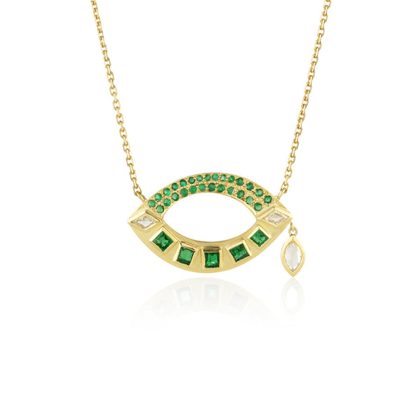 Hand made in London Brooke Gregson 18k gold Emerald Diamond Eye Necklace