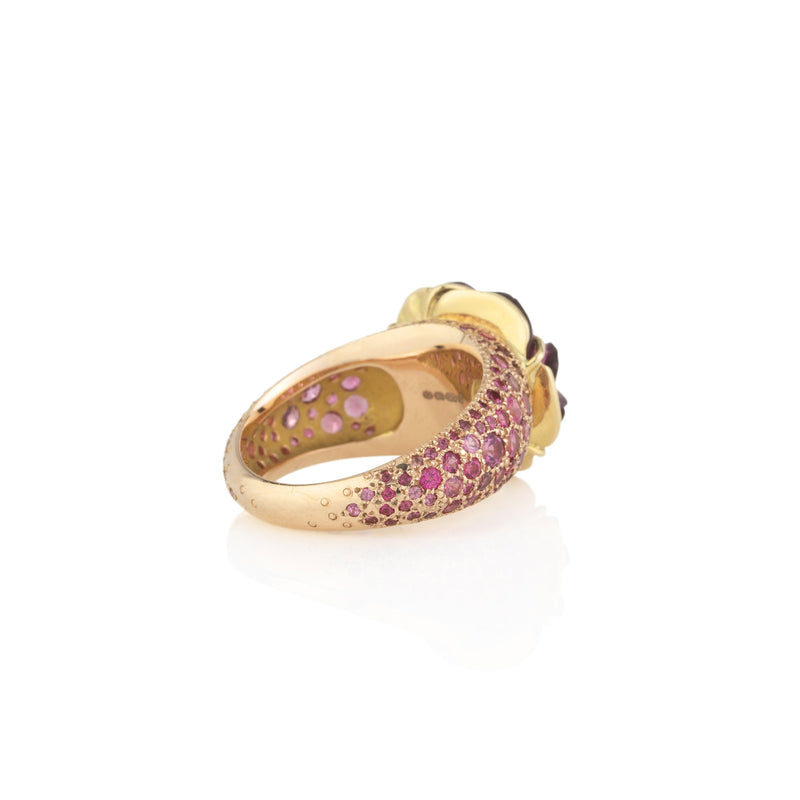 Hand made in London Brooke Gregson 18k gold carved Tourmaline Flower Ring with Spinel Pave Band side view